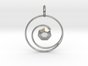 Spiral Gemstone Pendant in Natural Silver