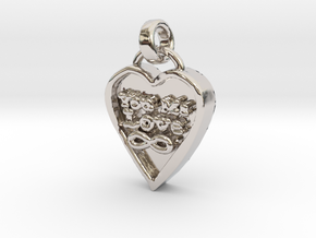 You Me Love Forever in Rhodium Plated Brass