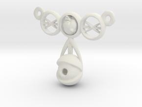 eyeball heart necklace pendant in White Natural Versatile Plastic: Small