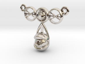 eyeball heart necklace pendant in Rhodium Plated Brass: Small
