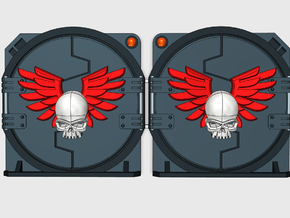Winged Skull : M1a Troop Tank Round Doors in Smooth Fine Detail Plastic