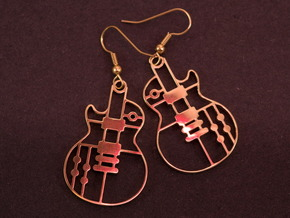 Les Paul_Earrings_in different metal in Polished Brass