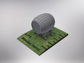 1/72nd (20 mm) scale wooden barrel in White Natural Versatile Plastic