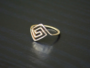 Square Spiral Ring in Polished Bronze: 7 / 54