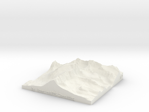 "Mount Whitney: 6""x6"" in White Natural Versatile Plastic"