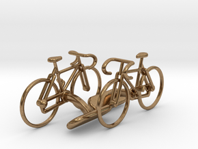 Racing Bicycle Cufflinks in Natural Brass