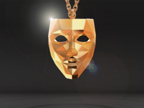 Mask Pendant in Polished Gold Steel