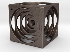 think outside the cube in Polished Bronzed Silver Steel