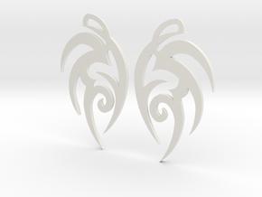 """Tribal """"Earth spirit"""" Earrings in White Natural Versatile Plastic"""