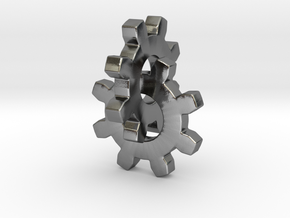 Interlocking Gears in Polished Silver (Interlocking Parts)
