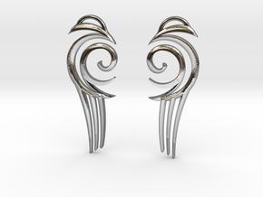 "Tribal ""Water spirit"" Earrings in Polished Silver"