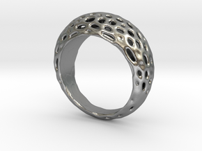 "Ring Voronoi ""Extravagaza""  #1B  in Raw Silver"