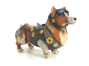 Steampunk Corgi in Full Color Sandstone