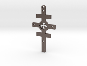 Occidental Cross of the Logos in Polished Bronzed Silver Steel