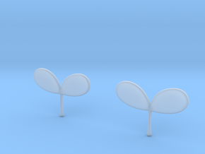 Plant Earrings in Smooth Fine Detail Plastic