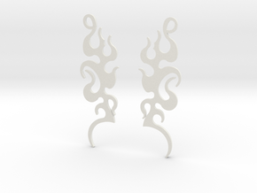 "Tribal ""Dancing Flames"" Earrings in White Natural Versatile Plastic"