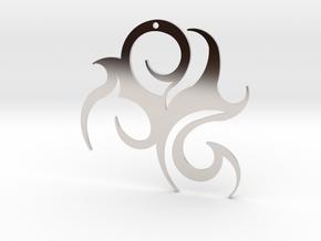 "Tribal ""Wind spirit"" Pendant in Rhodium Plated Brass"