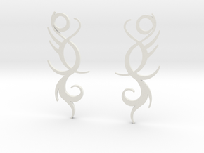 """Tribal """"Life Essence"""" Earrings in White Natural Versatile Plastic"""