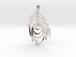 Peacock Feather Pendant in Platinum