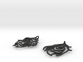 Feather Earrings in Black Premium Versatile Plastic