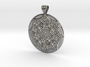 Victorian Medallion with scalloped bail in Polished Silver