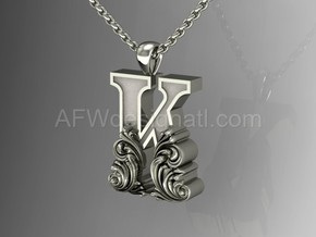 Scroll Letter K – Initial Letter Pendant in Fine Detail Polished Silver