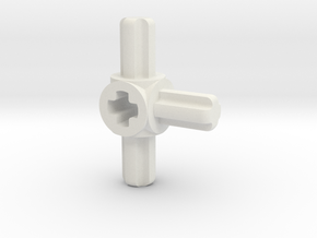 three sided M to F axle connector in White Natural Versatile Plastic