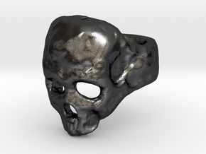 Skull Ring in Polished and Bronzed Black Steel