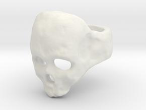 Skull Ring in White Natural Versatile Plastic