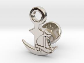 Cufflinks - Full Speed Ahead! Aye Aye! in Rhodium Plated Brass