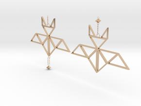 Geometric bat earrings in 14k Rose Gold Plated Brass: Medium