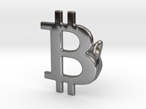 Bitcoin Cufflink in Fine Detail Polished Silver