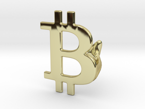 Bitcoin Cufflink in 18k Gold Plated Brass
