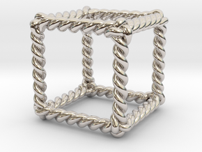 """Twisted Hexahedron 1.2"""" LH in Rhodium Plated Brass"""
