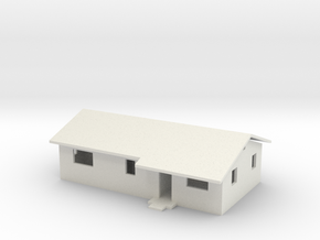 Rambler House with Roof in HO Scale in White Natural Versatile Plastic