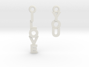 """I love you"" - Cute messages earings in White Natural Versatile Plastic"