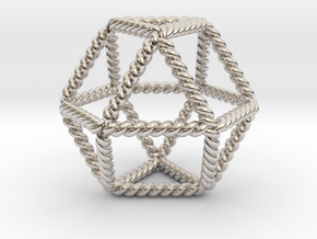 Twisted Cuboctahedron LH in Rhodium Plated Brass