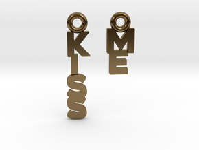 """""""Kiss me"""" - A special message for a special date in Polished Bronze"""