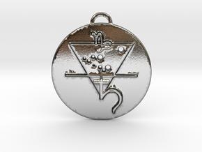 Capricorn talisman in Polished Silver