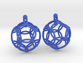earrings 12 circles in Blue Processed Versatile Plastic