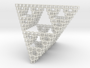 Minimal Art Object Sierpinsky in White Natural Versatile Plastic