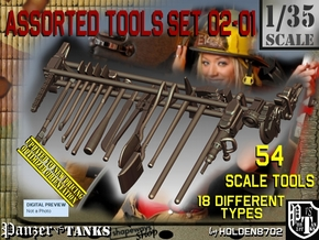 1/35 Assorted Tools Set02-01 in Smooth Fine Detail Plastic