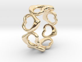 Happy hearts ring band, Size 6.5 in 14k Gold Plated Brass