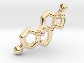Testosterone Hormone Pendant in 14K Yellow Gold