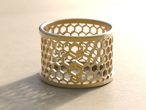 ring like bee in Polished Gold Steel: 7 / 54