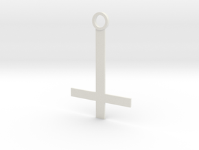 Reverse the cross key ring in White Natural Versatile Plastic: Small