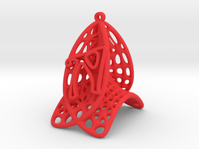 Personalised Voronoi Catalan Curve Earring (001) in Red Processed Versatile Plastic