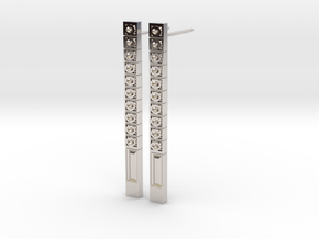Bar Earring with Pattern of Carved Circles in Rhodium Plated Brass