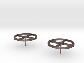Circular Stud Earrings in Polished Bronzed Silver Steel