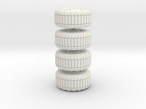 Wheel x4, 28mm, 1/35, in White Natural Versatile Plastic: Small